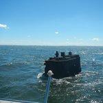 Sunken ship near the island.