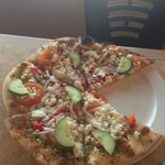 Cucumbers on Pizza, Really?? Yes, Yummm. Caught me by surprise:)