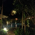 One of the pools by night!