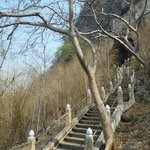 Some of the stairs leading up to the cave entrance; bring water!