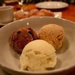 Homemade ice cream-banana, butterfinger, chocolate coffee