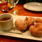 Homemade pretzel donuts, chocolate center, cinnamon sugar, drinking chocolate