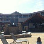 fountain and patio area