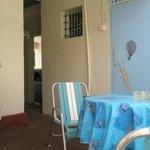 Back Yard - Blue Door entry to single detached room