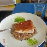 arroz con hongos y pescado!