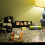 little tray next to the bed, snacks are not free