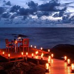 Romantic candle-lit dinner on the Rock