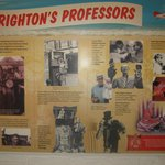 Wall poster explaining about entertainers who visited Brighton in the past.