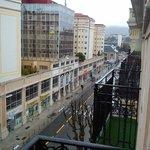 A due passi dalla stazione (struttura successiva ai due palazzi gialli), vista dal balcone.