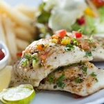 Grilled cod fish in white wine