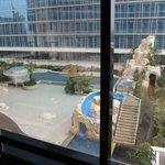 room window overlooking the pool area