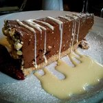 Chocolate and Hazelnut Cheesecake with White Chocolate Sauce
