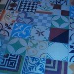 Tiled floor of lobby