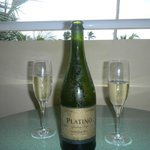 Sparkling wine on our balcony compliments of the wonderful Emmanuel!