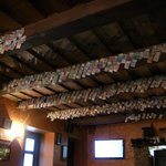 International currencies hanging from the ceiling