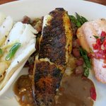 Seafood Trio: Blackened tilapia, cedar plank salmon, and cod