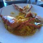 Half way through eating lobster paella