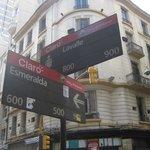 The street corner near the hotel.