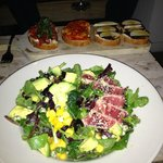 Bruschetta sample and Ahi Salad