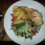 Hunters chicken, chips and salad, lush.