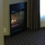 Nice fireplace that made the room feel homey.