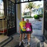 Portaria do hotel, saindo para participar da corrida Meia Maratona de Lisboa