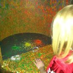 Melted crayon area in the black light room.