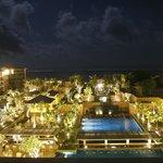 night view from resort lobby