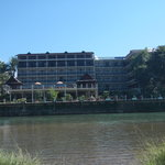 our hotel from across the nam song going to blue lagoon