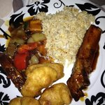 BBQ ribs, beef in blackbean sauce, egg fried rice and chicken balls