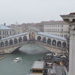 View looking at the Rialto bridge from the breakfast room