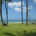 Parken som ligger mellem hotellet og Stillehavet