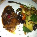 roast lamb with red wine sauce, roast potatoes and veg
