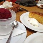 beetroot and chocolate ice cream with orange polenta cake