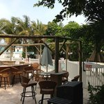 missing thatch roof over pool bar