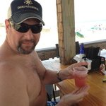 enjoying drinks at the Sand bar