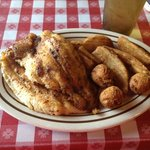 Cajun Catfish, Country Fries $ Hushpuppies