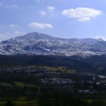 View from our roomof snow on Cader Idris