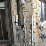 stack skis right outside our door