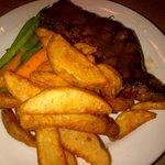 Incredible food - Steak with vegetables and crispy seasoned potatoe wedges