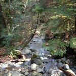 Waterfall and creek crossed by bridge