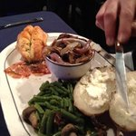 Steak, potato, sauteed mushrooms, green beans - All really good!