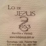 Info on the napkin