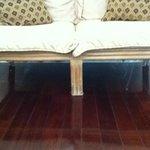 cob webs under the armchair?