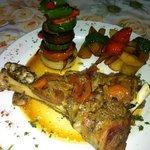 lamb shoulder , veg, potato