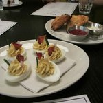Deviled eggs and scones with jam and creme fraiche
