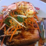 Caramelised pork belly, prawn, carrot & kaffir lime salad