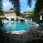 View across pool to restaurant