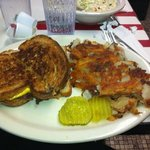 Patty Melt with Hash Browns