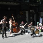 Great roots blues band playing for tips and selling CD's